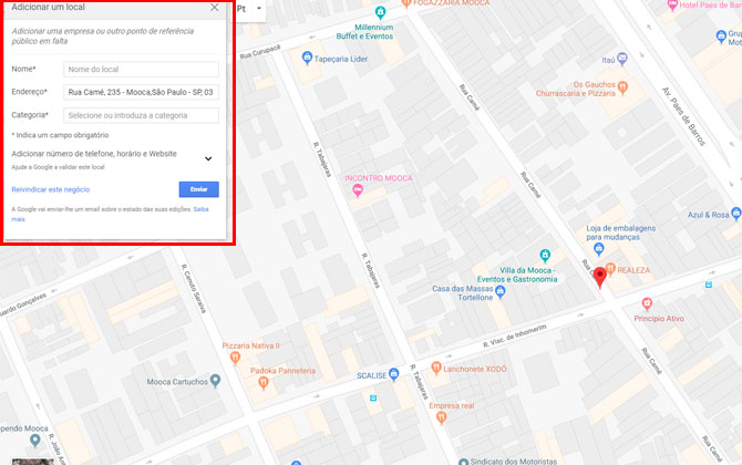 colocar a empresa no Google Maps